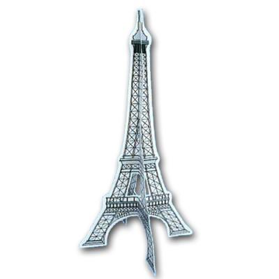 Karton Dekohänger Eiffelturm mit 3-D Optik für die Frankreich Partydekoration.