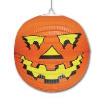 1 oranger Lampion im Halloween Kürbis Design.