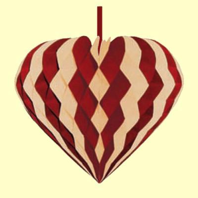 bordeaux-elfenbein Wabenfigur Herz