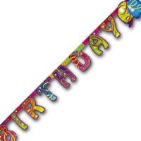 Hinterteil der bunten Partykette mit Luftballon Partymotiven und BIRTHDAY Schriftzug.