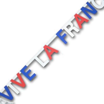 Frankreich Buchstabenkette mit blau-weiß-rotem VIVE LA FRANCE Schriftzug und mit Eiffelturm Motiven.