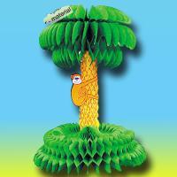 Partydeko Wabenfigur Palme mit Affe | 1 Stück