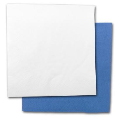 Günstige, blaue und weiße Papierservietten im Set.