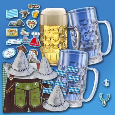 Bierkrüge 0,5 Liter aus Kunststoff inkl. Oktoberfest Partydeko und Lederhosen Servietten