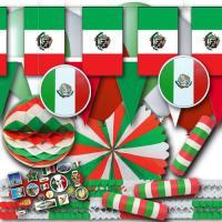 Partydeko Set Mexiko grün-weiß-rot und Flaggenmotive