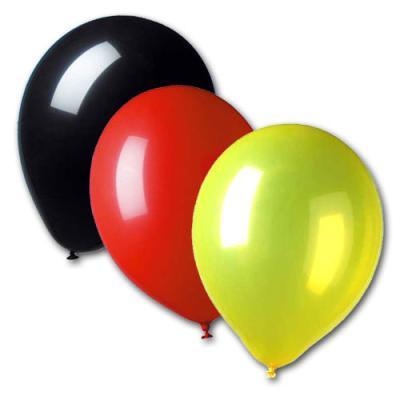 10 Luftballons schwarz-rot-gelb für die Länderdekoration Deutschland und Belgien.