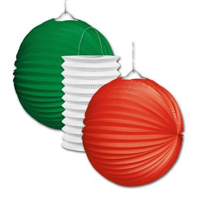 3 Lampions in den italienischen und mexikanischen Länderfarben grün, weiß und rot für die Italiendeko im Design der il tricolore Italien Flagge oder eine Mexiko Länderdekoration.