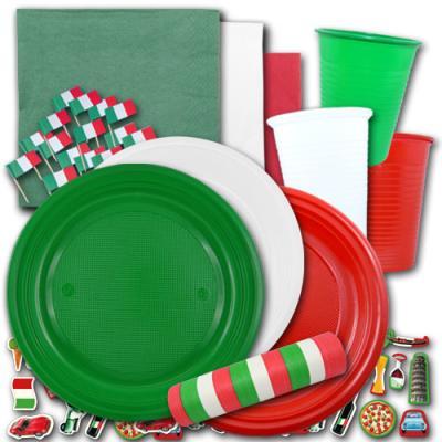 Günstiges Italien Partygeschirr Set in den Farben der Italien Flagge grün-weiß-rot.