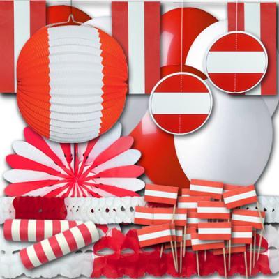 Rot-weißes Partydekoset Grundausstattung zum Sparpreis