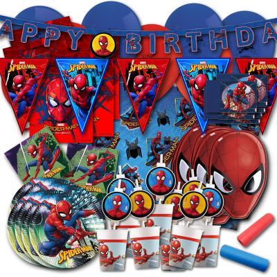 Umfangreiches Spiderman Kindergeburtstag Set mit Partygeschirr und Partydeko.