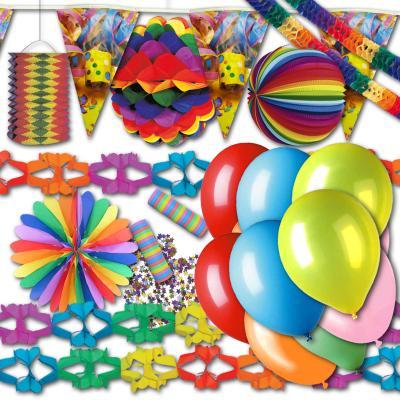 1 buntes Partyset für Fasching, Karneval oder eine farbenfrohe Mottoparty.