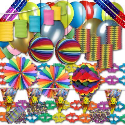 1 umfangreiches Partydekoset mit bunter Partydeko für Fasching, Karneval, Silvester, Geburtstag oder eine farbenfrohe Mottoparty.