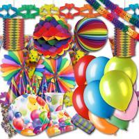 Buntes Partydeko Set mit Partygeschirr und Partydeko für...