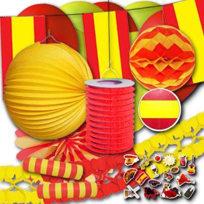 Spanien Partydeko Set Grundausstattung mit rot-gelber Länderdeko für die spanische Länderdekoration.