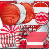 Rot-weiß-rotes Dekoset groß im Design der Österreich...