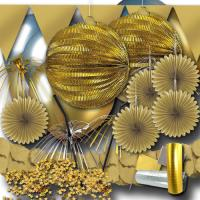 Partydeko Set gold mit Partyartikel für eine goldene...