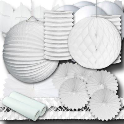 Partydeko Set weiß Grundausstattung mit verschiedenen Partyartikeln in weiß.