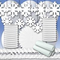 Weißes Partydekoset Winter mit weißer Partydeko und...