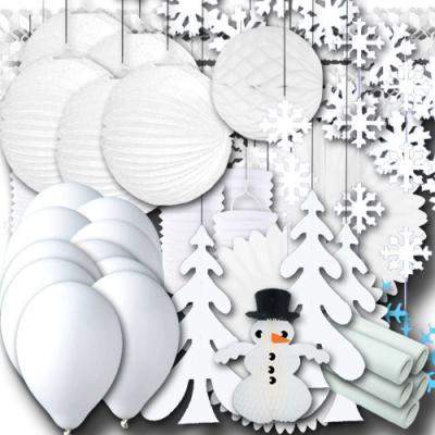 Großes Partyset mit viel weißer Winter Partydeko zum Sparpreis.