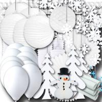 Großes Partyset mit viel weißer Winter Partydeko zum...