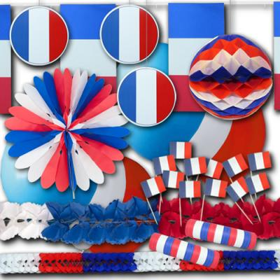 Frankreich Dekoset Grundausstattung mit passender blau-weiß-roter Deko in den Farben der französischen Nationalflagge.