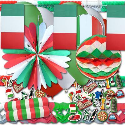 Italiendeko Partyset mit grün-weiß-roter Partydeko und Italien Flaggen Motiven
