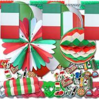 Italiendeko Partyset mit grün-weiß-roter Partydeko und...