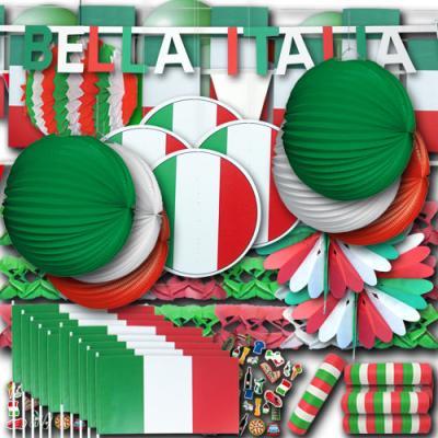 Riesiges Italien Partydekoset in den Farben der Italien Flagge grün-weiß-rot.