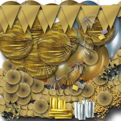 Großes Partydeko Set gold und silber mit Lampions, Girlanden, Luftschlangen, Luftballons, Rosetten und viele Partyartikel mehr.