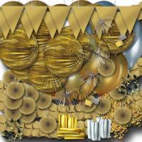 Großes Partydeko Set gold und silber mit Lampions,...