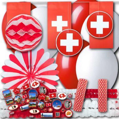 Partydekoset Schweiz Grundausstattung mit rot-weißer Partydeko und Schweiz Motiven.