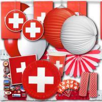 Umfangreiches Partyset Schweiz mit Partydeko und...