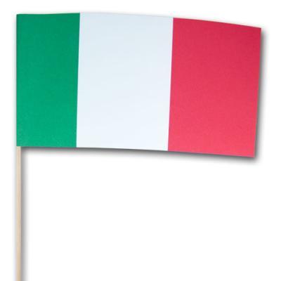 Fähnchen am edlen Holzstab mit Italien Flagge aus Papier