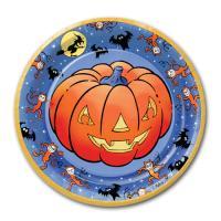 Gruselige Halloween Pappteller mit Kürbis Motiv.