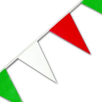 Kunststoff Wimpelkette grün-weiß-rot, 4 Meter lang, 16 Wimpel