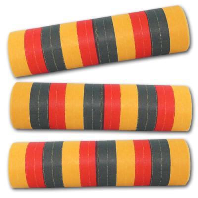 Schwer entflammbare Luftschlangen schwarz-rot-orange gestreift für Ihre Deutschland Länderdekoration.
