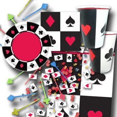 Partygeschirr-Set mit Poker Motiven