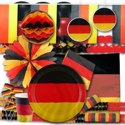 Umfangreiches Deutschland Partyset mit Partydeko und Partygeschirr im Design der Deutschland Flagge.