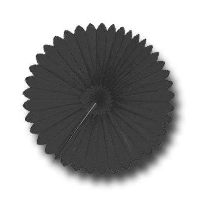 Partydeko Rosette schwarz aus schwer entflammbarem Papier und Karton.