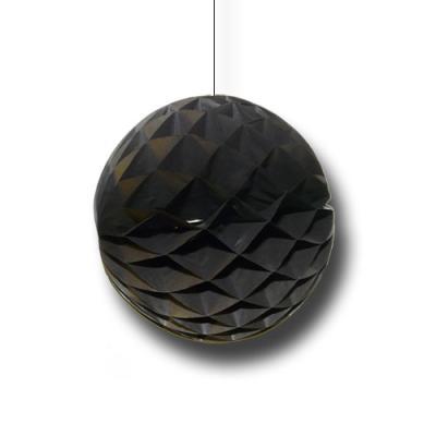 Partydeko Wabenball schwarz aus schwer entflammbarem Papier und Karton.