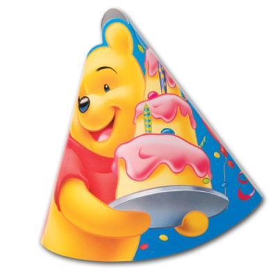 Bunte Partyhütchen mit Winnie Pooh Motiv für die Kindergeburtstag Mottoparty.