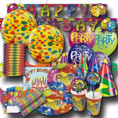 Geburtstagsdeko Set mit Partygeschirr & Partydeko im bunten Luftballons Design.